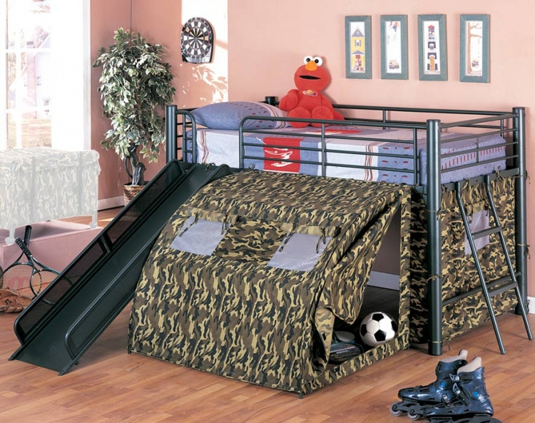 Oates GI Loft Bed with Slide and Tent