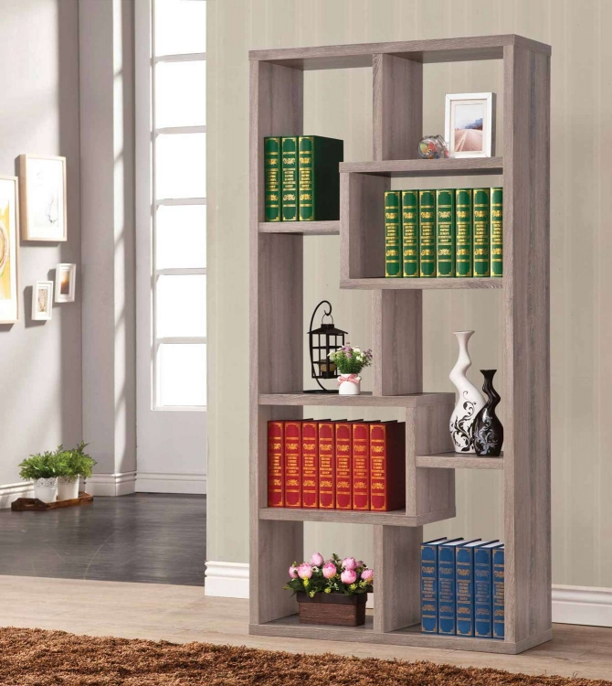 800129 Bookshelf - Distressed Grey