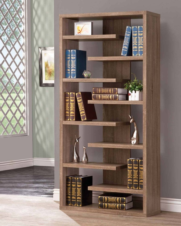800148 Bookshelf - Distressed Brown