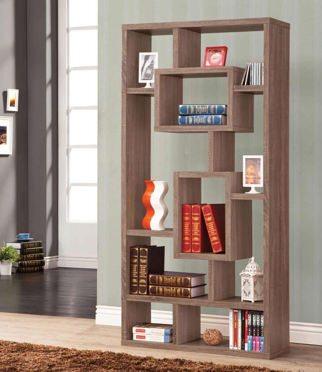 800158 Bookshelf - Distressed Brown
