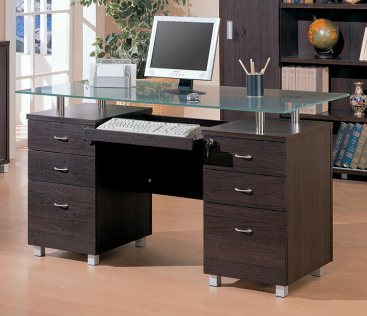 Decarie Desk With Glass - Coaster