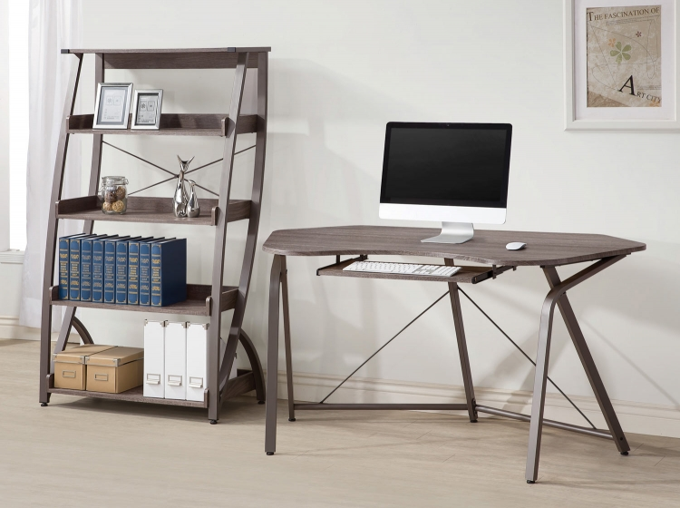Harsen Home Office Set - Weathe Red Grey