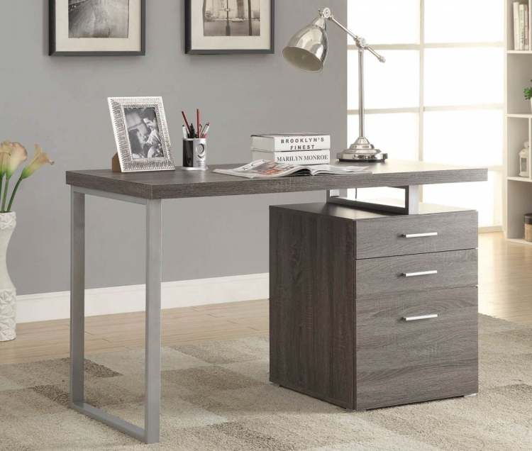 Hillard Writing Desk - Weathered Grey/Silver