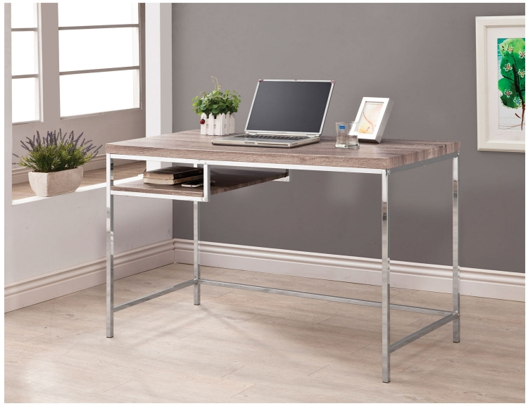 801161 Computer Desk - Wood Look/Chrome