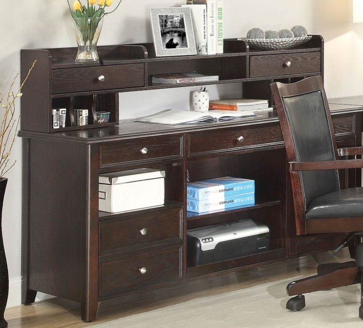 Maclay Desk with Small Hutch - Dark Brown/Silver