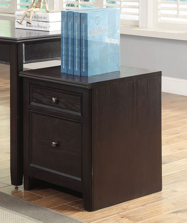 Maclay Mobile File Cabinet - Dark Brown/Silver