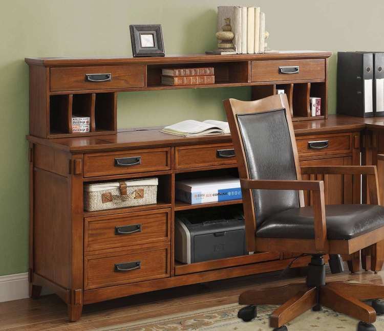 Maclay Desk with Small Hutch - Red Brown/Black