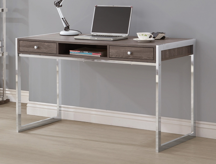 801221 Desk - Weathered Grey/Chrome