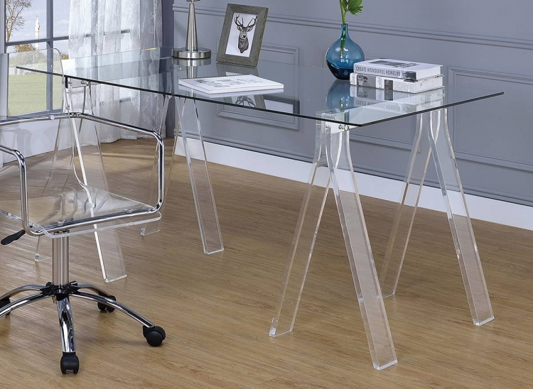 Amaturo Writing Desk - Clear/Chrome