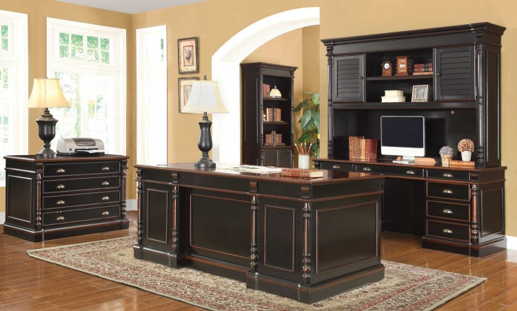 Ravenel Home Office Set - Black/Warm Amber