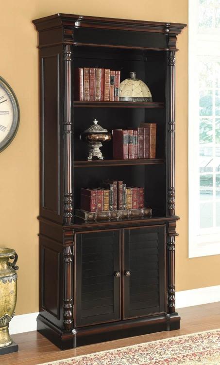 Ravenel Bookcase - Black/Warm Amber
