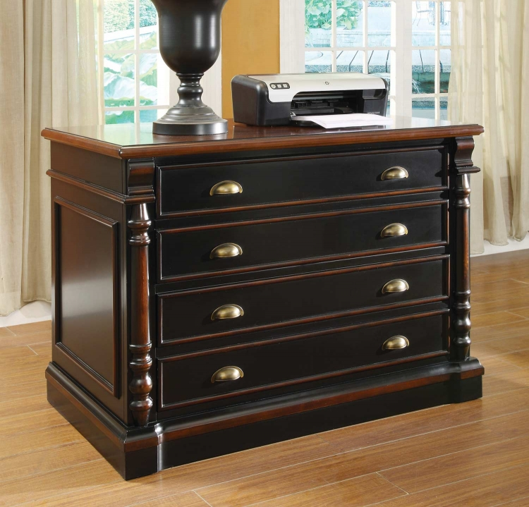 Ravenel File Cabinet - Black/Warm Amber