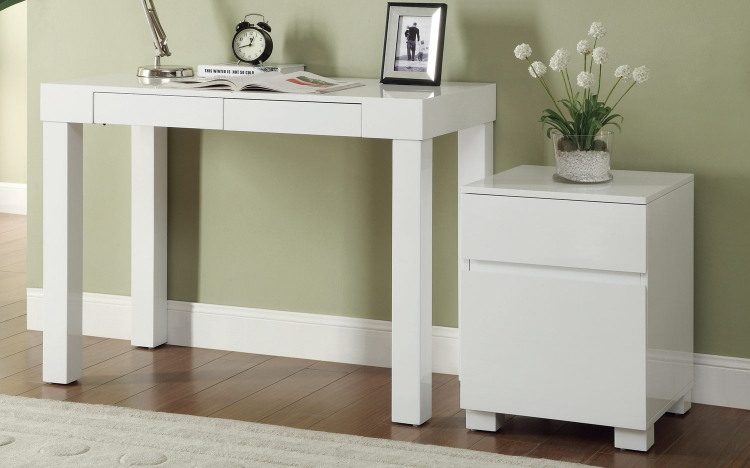801737 Home Office Set - Glossy White