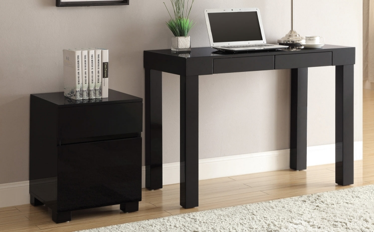 801739 Home Office Set - Glossy Black