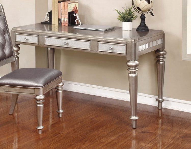 Bling Game Office Desk - Metallic Platinum