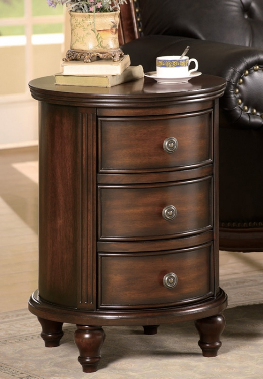 900363 3 Drawer Round Small Cabinet - Coaster