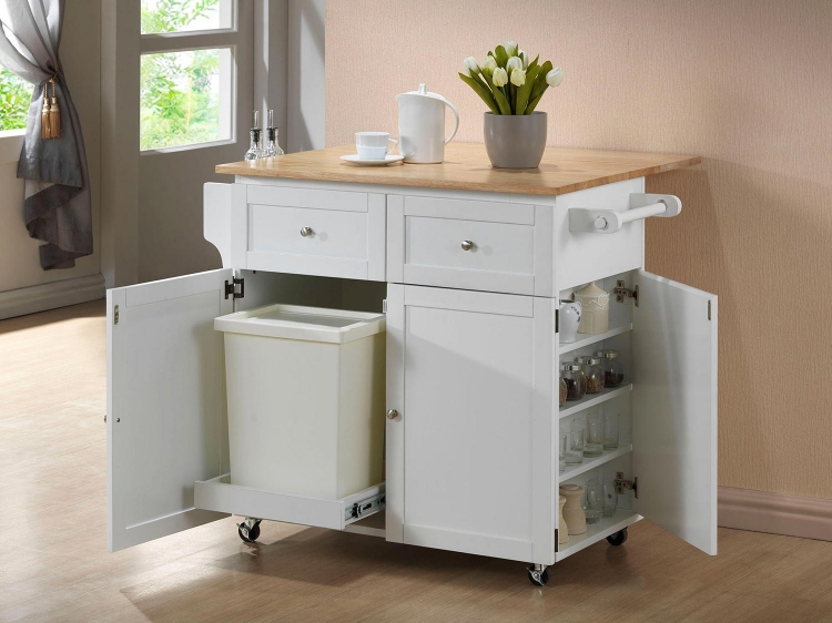 900558 Kitchen Cart - Brown and White