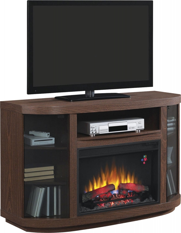 900851 Media Console Fireplace - Brown Walnut