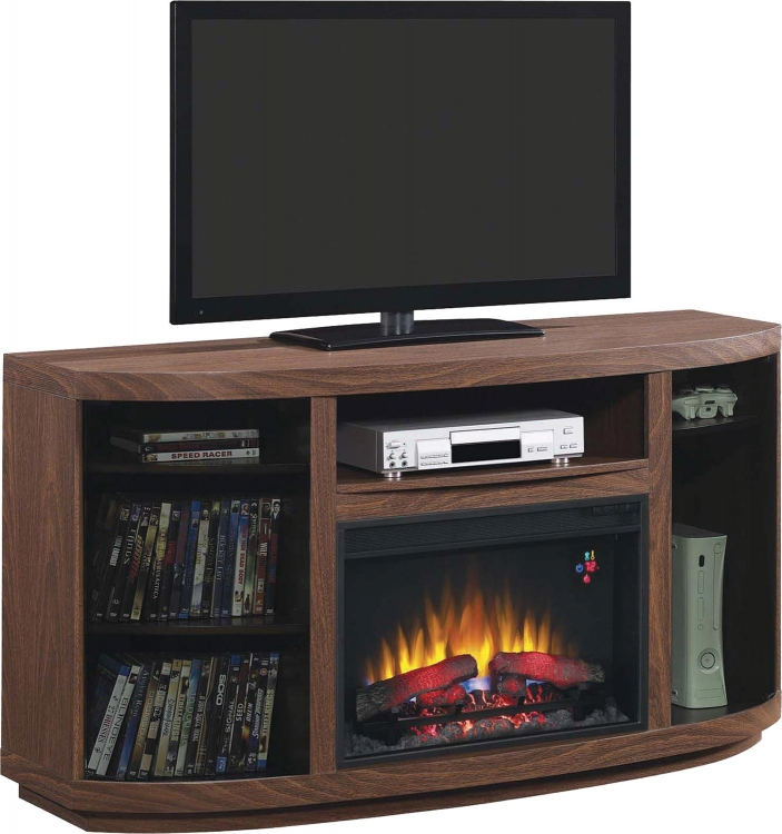 900852 Media Console Fireplace - Brown Walnut