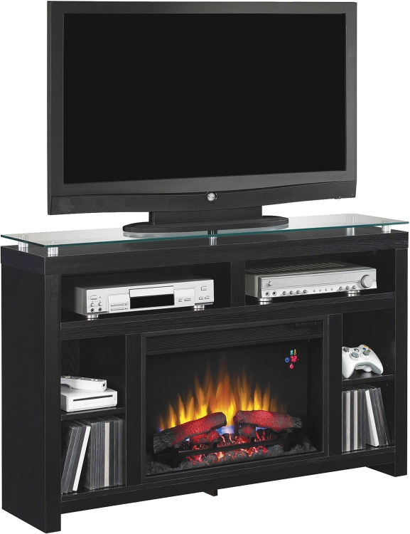 900853 Media Console Fireplace - Ash Black