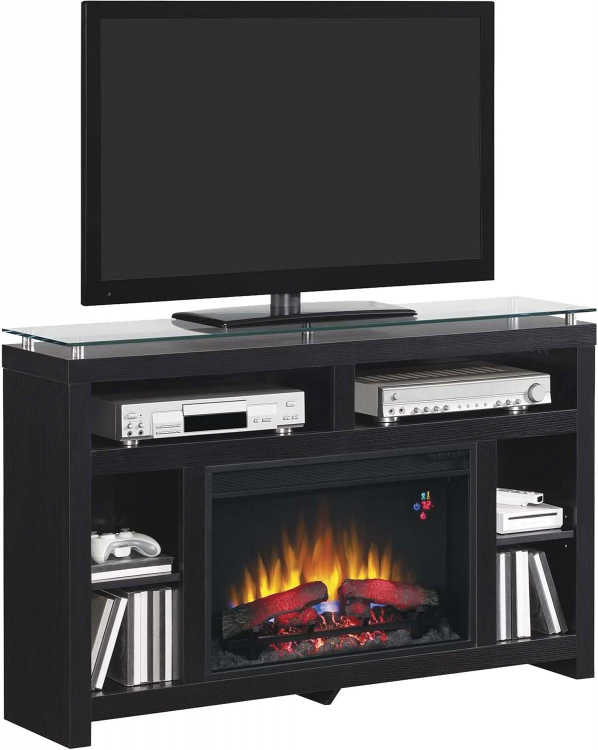900854 Media Console Fireplace - Ash Black