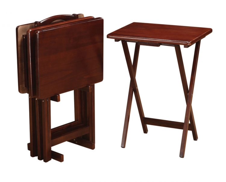 901082 5-Piece Tray Table Set - Merlot