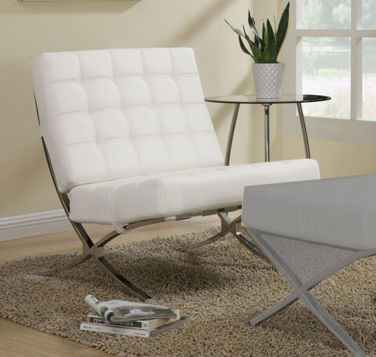 902183 Accent Chair - White/Chrome