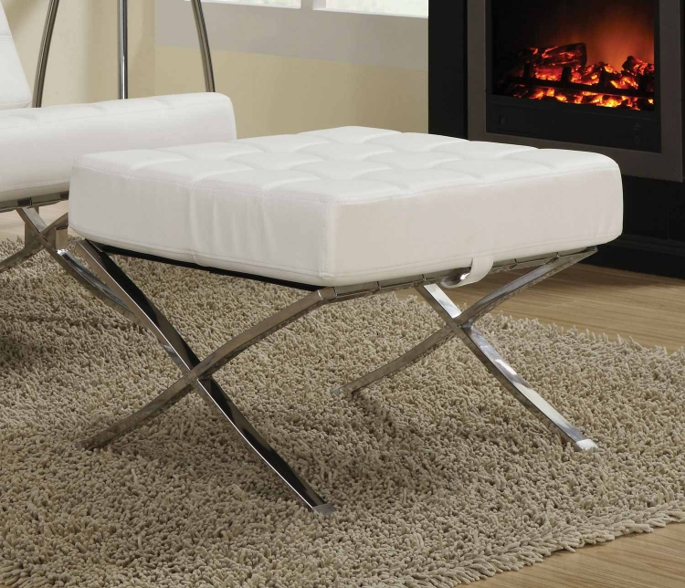 Coaster 902184 Ottoman - White/Chrome