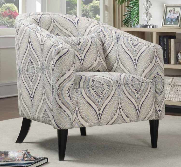 902405 Accent Chair - Off White, Blue, Grey