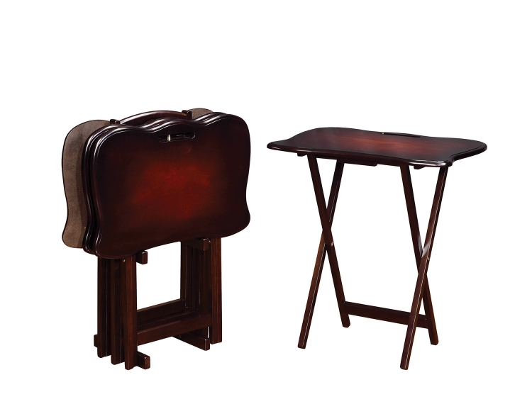902716 5 PC Tray Table Set - Merlot