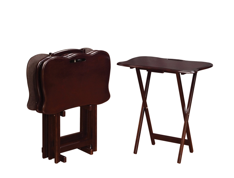 902717 5 PC Tray Table Set - Cappuccino