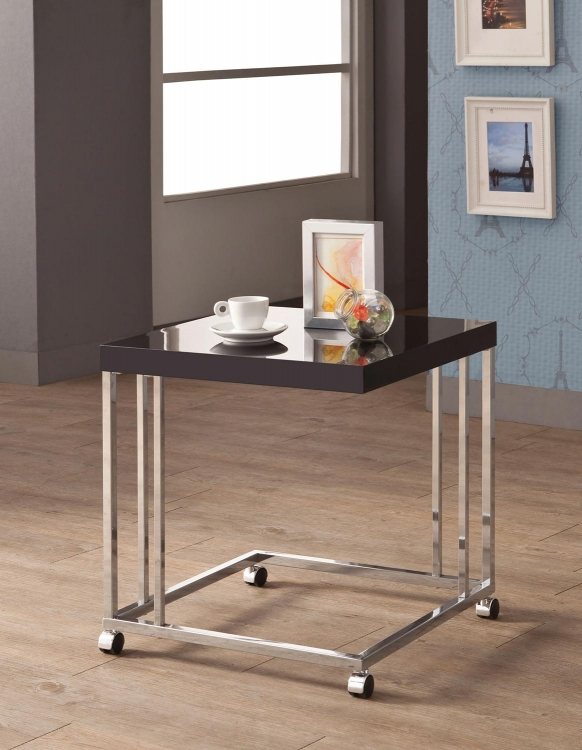 902817 Snack Table - High Gloss Black/Chrome