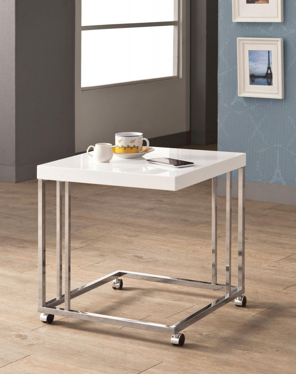 902818 Snack Table - High Gloss White/Chrome
