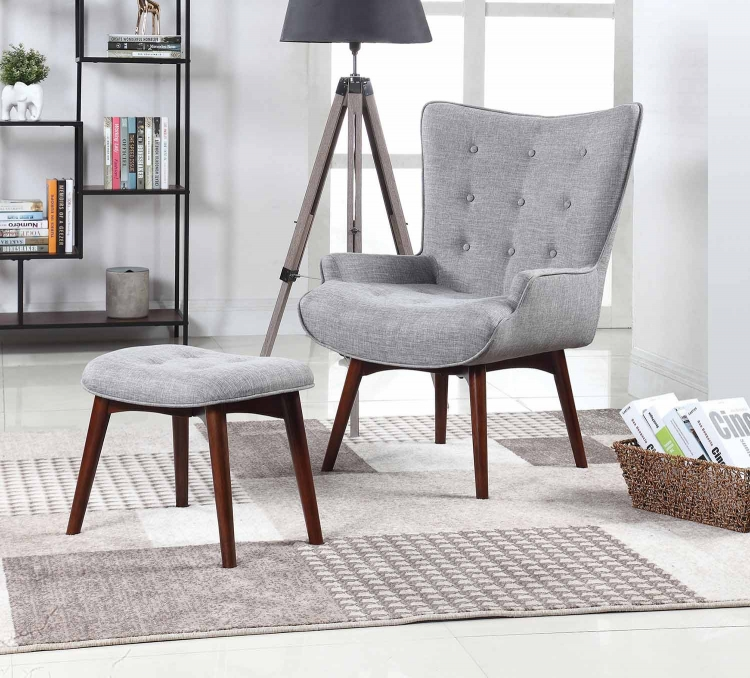 903820 Accent Chair with Ottoman - Linen Fabric/Brown