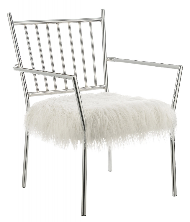 904080 Accent Chair - White/Chrome