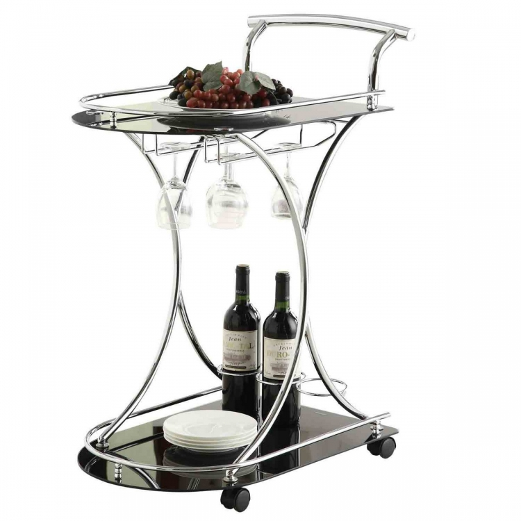 910001 Serving Cart - Chrome/Black Glass
