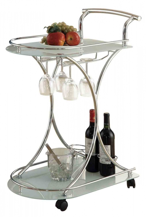 910002 Serving Cart - Chrome/Frosted Glass