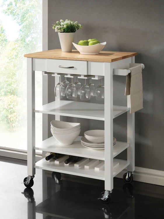 910025 Kitchen Cart - Natural and White