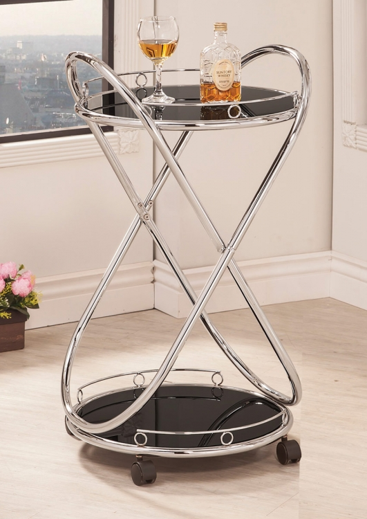 910074 Serving Cart - Chrome