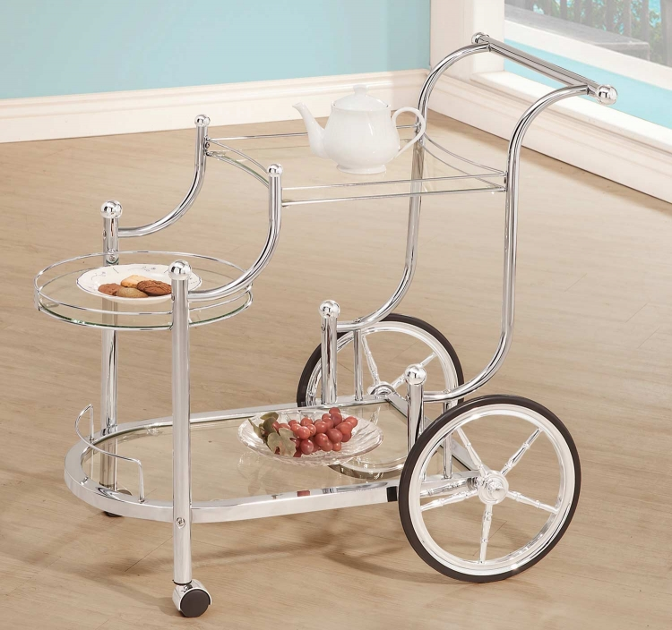 910076 Serving Cart - Chrome