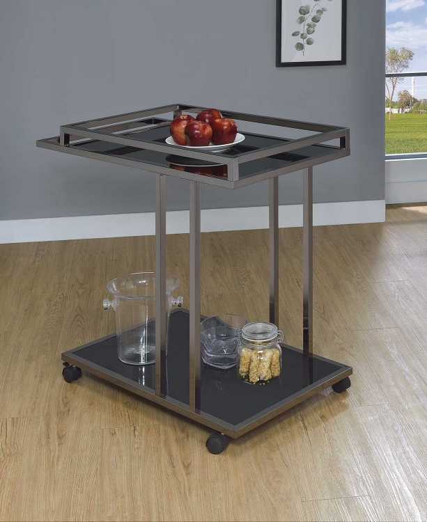 910146 Serving Cart - Black Nickel