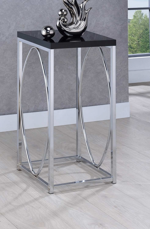 930013 Accent Table - Chrome/Black