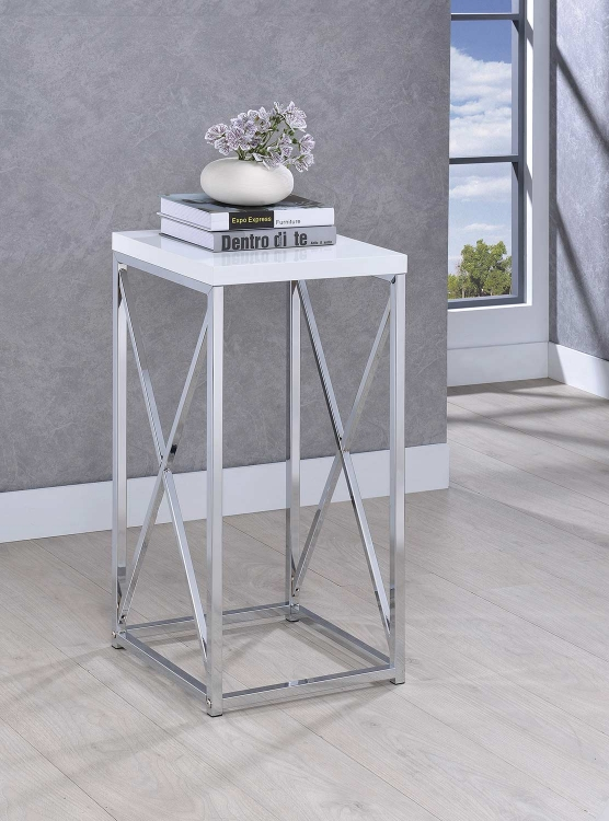 930014 Accent Table - Chrome/White