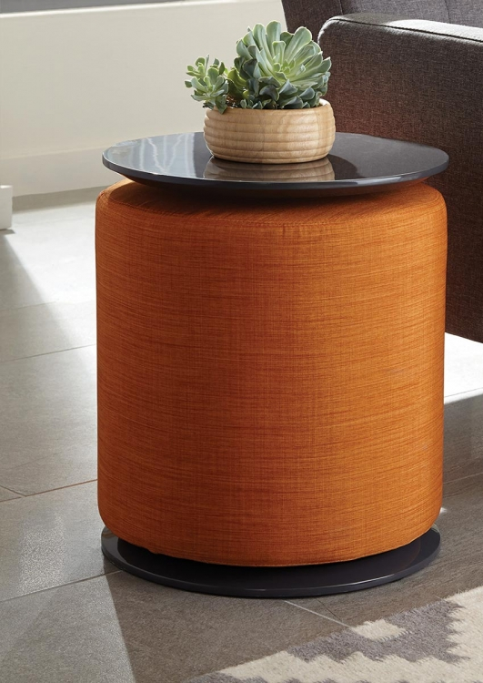 930015 Accent Table with Ottoman - Grey High Gloss/Orange