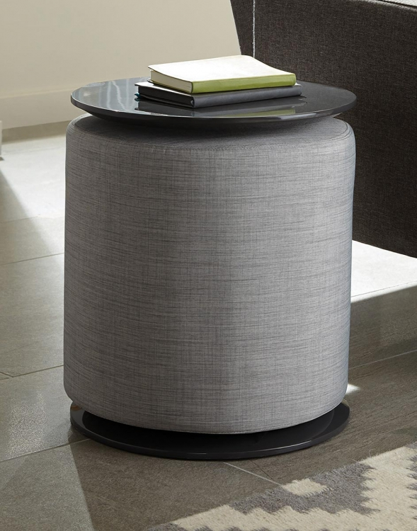 930017 Accent Table with Ottoman - Grey High Gloss/Grey