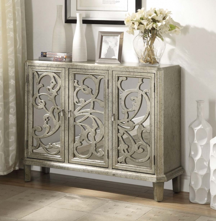 950019 Accent Cabinet - Antique Silver