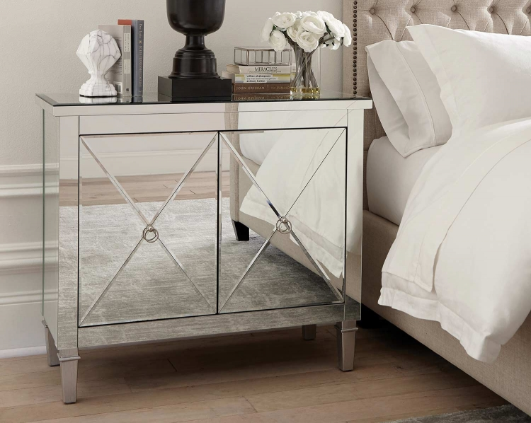 950742 Accent Cabinet - Clear Mirror/Nickel