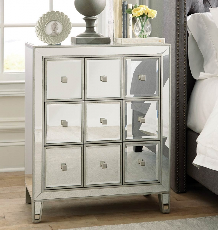950745 Accent Cabinet - Clear Mirror/Silver