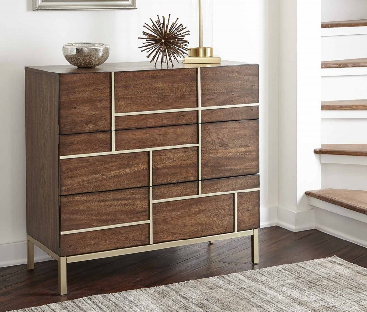 950758 Accent Cabinet - Warm Brown/Brass