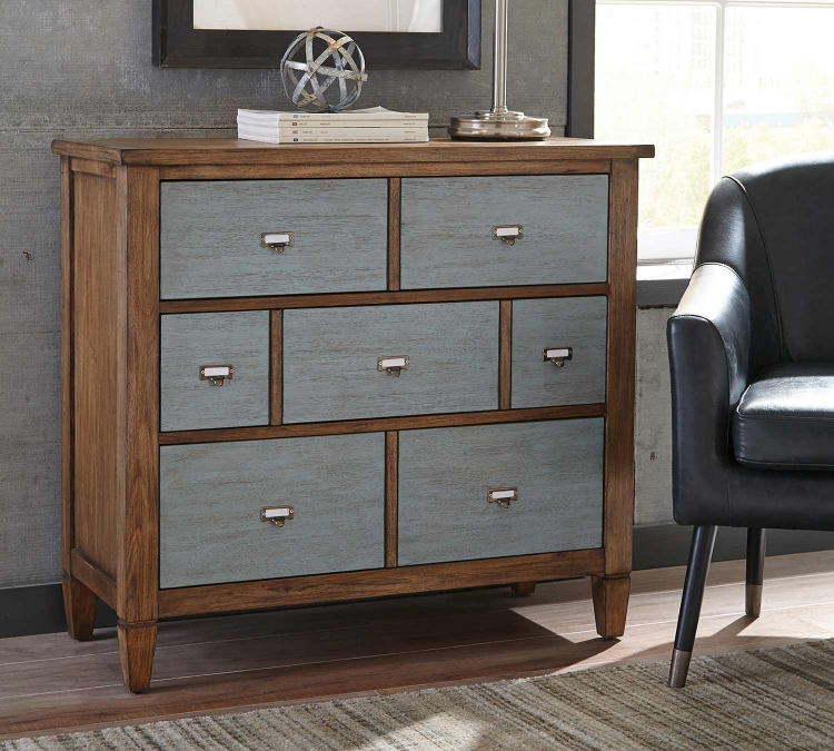 950764 Accent Cabinet - Light Brown/Antique Silver
